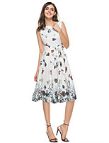 ANGELL Women's Going out Casual/Daily Simple Street chic A Line DressFloral Round Neck Knee-length Sleeveless Chiffon Summer High Rise Inelastic