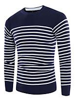 Men's Casual Simple Regular Pullover,Striped Round Neck Long Sleeve Cotton Blend Fall Medium Micro-elastic