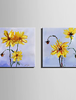 Mini Size E-HOME Oil painting Modern Yellow Chrysanthemum Pure Hand Draw Frameless Decorative Painting Set of 2