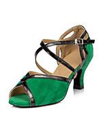Women's Latin Lycra Leopard Printing Synthetic Heels Indoor/Professional Animal Print Chunky Heel Gold 2 - 2 3/4 3 - 3 3/4 Customizable