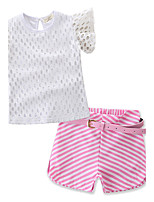 Girls' Fashion Hollow Lace SetsCotton Lace Summer Short Pant Baby Clothing Set Kids Short Sleeve T-shirt Clothes