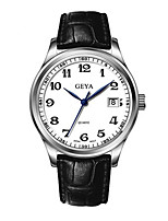 Men's Dress Watch Fashion Watch Quartz Calendar Water Resistant / Water Proof Noctilucent Leather Band Black