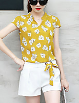 Women's Going out Work Pants Summer Fashion Blouse Pant Suits Print Bowknot V Neck Short Sleeve Chiffon Micro-elastic Yellow Blue