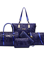 Women Bags All Seasons PU Bag Set with for Casual Blue Black Red Brown