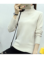 Women's Casual/Daily Simple Regular Pullover,Solid Stand Long Sleeve Polyester Fall Medium Micro-elastic