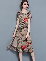 Gaine Robe Femme Décontracté / Quotidien Grandes Tailles Chinoiserie,Imprimé Col Arrondi Mi-long Manches Courtes Satin Eté Taille Normale