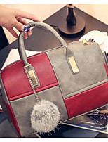 Women Shoulder Bag PU Polyester All Seasons Casual Outdoor Cylinder Zipper Red Black