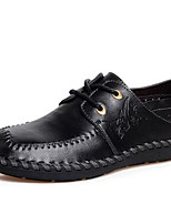 Для мужчин Мокасины и Свитер Удобная обувь Наппа Leather Осень Зима Повседневные Для вечеринки / ужина Удобная обувь Черный Темно-русый