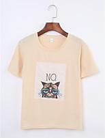 Tee-shirt Femme,Imprimé Quotidien Décontracté / Quotidien simple Eté Manches Courtes Col Arrondi Coton Fin