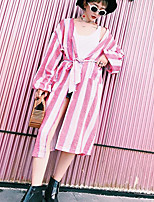 Women's Going out Casual/Daily Street chic Shirt,Striped V Neck Long Sleeves Cotton