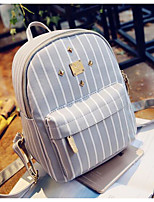 Women Backpack Canvas All Seasons Casual Round Zipper Gray Black