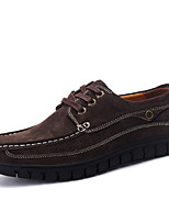 Men's Loafers & Slip-Ons Comfort Light Soles Formal Shoes Fall Winter Suede Casual Outdoor Office & Career Lace-up Flat Heel Brown Dark