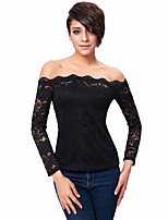 Women's Slash Neck Lace T Shirt Long Sleeve Boat Neck Blouse