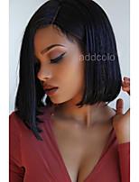 Bretelles courtes en avant devant perruques cheveux en cuir 360 perles frontales en dentelle soyeuse cheveux humains droits 360 perruque