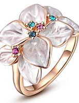 女性用 指輪石座 バンドリング 指輪 キュービックジルコニアベーシック ユニーク フラワー 友情 耐久 セクシー ファッション 愛らしいです あり かわいいスタイル 欧米の 映画ジュエリー 高級ジュエリー シンプルなスタイル アメリカ ブリティッシュ クラシック