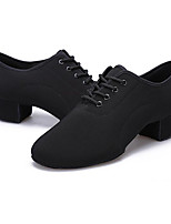 Men's Latin Fabric Flats Heels Practice Black