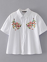 Women's Daily Casual Simple Shirt,Embroidery Shirt Collar Short Sleeve Cotton