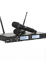 Professional UHF Wireless Microphone Metal Double Handheld Mic System For Vocals Speech Karaoke