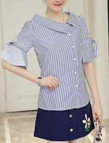 Women's Casual/Daily Casual Summer T-shirt Skirt Suits,Striped Color Block Embroidery V Neck 1/2 Length Sleeve