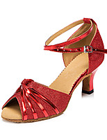 Damen Latin Kunstleder Sandalen Sneakers Professionell Verschlussschnalle Blockabsatz Silber Rot Bronze 5 - 6,8 cm Maßfertigung