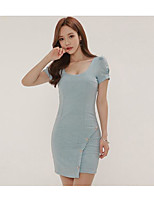 Women's Casual/Daily Simple Bodycon Dress,Solid Strapless Mini Short Sleeve Cotton Summer High Rise Micro-elastic Thin