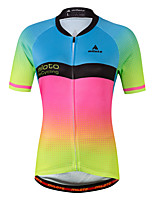 Cycling Jersey Ladies' Female Short Sleeve Bike Jersey Fast Dry Stretchy Sweat-Wicking Spandex Coolmax Spring/Fall SummerCycling