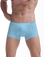 Men's Sexy Sports Solid Shorties & Boyshorts Panties Ultra Sexy Boxers Underwear  Breathable Cotton Blue/Orange/Pink
