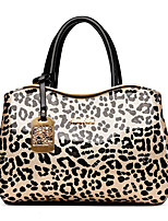 Women Bags All Seasons PU Tote with Leopard for Wedding Event/Party Casual Formal Office & Career Black Beige