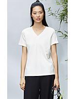 Damen Solide Einfach Alltag Normal T-shirt,V-Ausschnitt Kurzarm Baumwolle