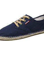 Men's Sneakers Comfort Spring Fall Canvas Casual Lace-up Flat Heel Dark Blue Gray Khaki 2in-2 3/4in