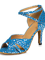 Women's Latin Nubuck leather Heels Indoor Buckle White Blue 2