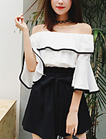 Women's Going out Casual/Daily Boho Summer Fall Blouse,Solid Boat Neck Half Sleeve Cotton Linen Medium