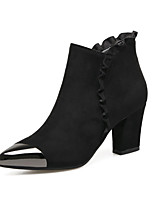 Women's Shoes Boots Comfort Leatherette Fall Winter Casual Party & Evening Dress Comfort Zipper Chunky Heel Camel Black 2in-2 3/4in