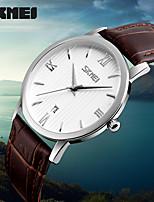 SKMEI Relogio Masculino Feminino Leather Strap Waterproof Ladies Wristwatches Quartz Watches