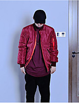 Men's Short Padded Coat,Simple Casual/Daily Print Letter-Polyester Others Polyester Long Sleeve