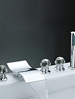 Contemporary Modern Style Waterfall Handshower Included with  Crystal Three Handles Five Holes  Chrome Finish Bathroom  Bathtub Faucet