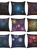 Set of 9 Fireworks Pattern Linen Cushion Cover Home Office Sofa Square Pillow Case Decorative Cushion Covers Pillowcases Without Insert(18*18)
