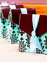 12 Piece/Set Favor Holder- Brown and Turquoise Tapestry Wedding Favor Box 7.5 x 3.5 x 8.8 cm Beter Gifts® Candy Bag Decoration