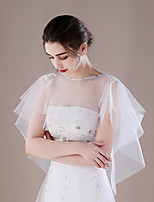 Women's Wrap Ponchos Tulle Wedding Party/ Evening Rhinestone Applique Pleated