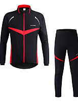 Cycling Jacket with Pants Unisex Long Sleeve Bike Clothing Suits Warm Windproof Reflective Strips Polyester Classic Fall Winter