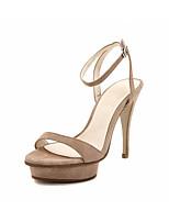 Women's Heels Basic Pump Leather Summer Dress Basic Pump Stiletto Heel Nude Black 4in-4 3/4in