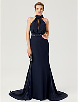 2017 TS Couture Formal Evening Dress - Elegant Sheath / Column High Neck Court Train Chiffon with Beading Bow(s) Sash / Ribbon Pleats