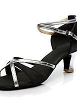 Для женщин Латина Шёлк На каблуках Концертная обувь Пайетки Кубинский каблук Золотой Серебряный Коричневый 2,5 - 4,5 см 5 - 6,8 см