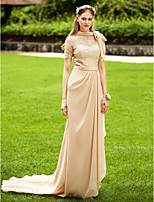LAN TING BRIDE Со шлейфом средней длины Вырез под горло Платье для подружек невесты - See Through Elegant С короткими рукавамиШифон