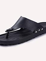 Men's Sandals Comfort PU Summer Casual Comfort Flat Heel Black White Flat