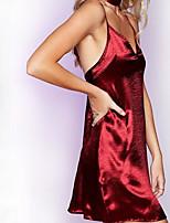 Для женщин Для клуба Секси Оболочка Платье Однотонный,На бретелях Мини Без рукавов Шёлк Лето Со стандартной талией Слабоэластичная