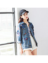Women's Casual/Daily Simple Fall Denim Jacket,Solid Print Shirt Collar Long Sleeve Regular Cotton