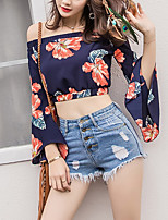 Women's Beach Holiday Going out Casual/Daily Sexy Vintage Street chic Shirt,Floral Boat Neck Long Sleeve Polyester