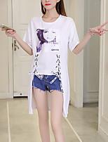 Mujer Chic de Calle Noche Casual/Diario Verano Otoño Camiseta,Escote Redondo Estampado Letra Manga Corta Algodón Poliéster Medio