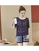 Chemisier Pantalon Costumes Femme,Couleur Pleine Décontracté simple Eté Manches Courtes Col Arrondi Micro-élastique